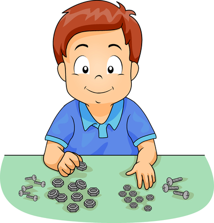 Illustration of a Kid Boy Sorting Bolts and Screws 스톡 콘텐츠 - 120908040