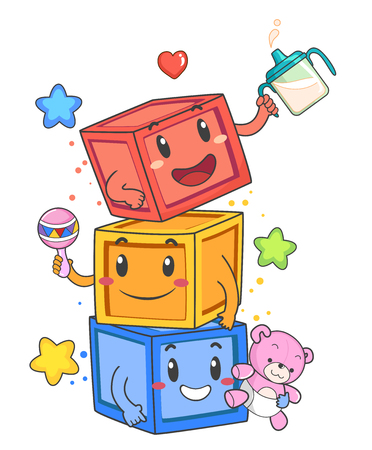 Illustration of Blocks Mascots Tower Holding a Drinking Cup, Rattle and Stuffed Toy 스톡 콘텐츠 - 120908042