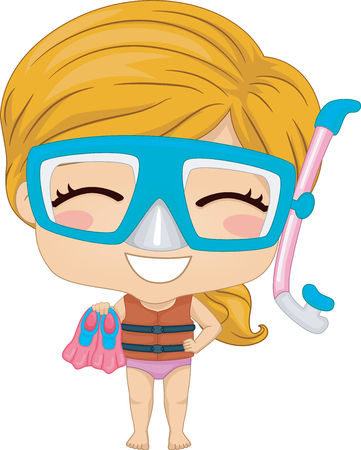Illustration of a Kid Girl Wearing Snorkeling Goggles, Mouthpiece and Flippers