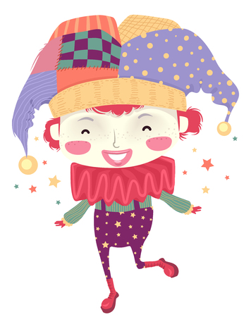 Illustration of a Kid Boy Wearing Colorful Clown Costume with Full Make Up 스톡 콘텐츠 - 120908045