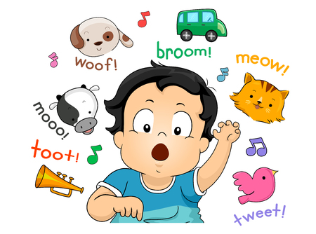 Illustration of a Kid Boy Toddler Imitating Sounds from Animals, a Car and a Horn Stock Photo