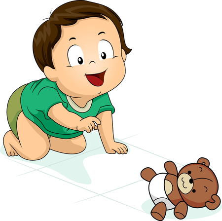 Illustration of a Kid Boy Toddler Crawling Down the Floor Towards His Stuffed Teddy Bear Toy 스톡 콘텐츠 - 120908047