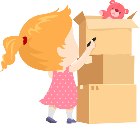 Illustration of a Kid Girl Holding Pen Labeling Cardboard Boxes With Her Toys In It 스톡 콘텐츠 - 120908049
