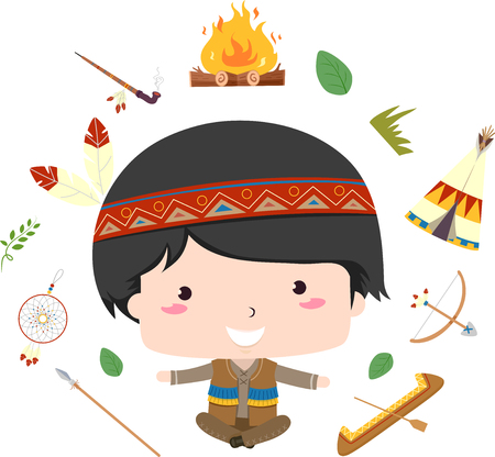 Illustration of a Native American Kid Boy Showing Different Elements from Bonfire, Pipe, Tipi, Spear, Canoe, Bow and Arrow 스톡 콘텐츠 - 120908054