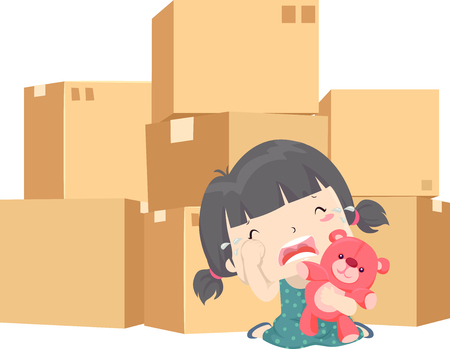 Illustration of a Kid Girl Crying with Moving House Cardboard Boxes Behind Her 스톡 콘텐츠 - 120908055
