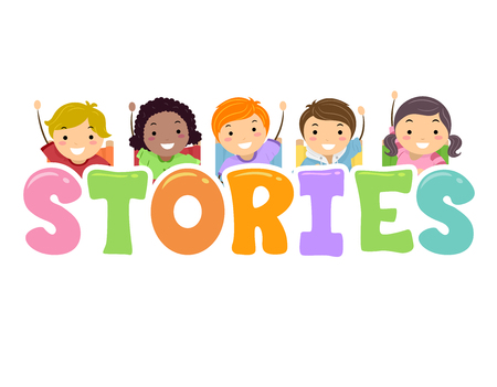 Illustration of Stickman Kids with Hands Up and Stories Lettering 스톡 콘텐츠