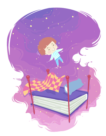 Illustration of a Kid Boy Floating While Sleeping On a Bed with Book Mattress