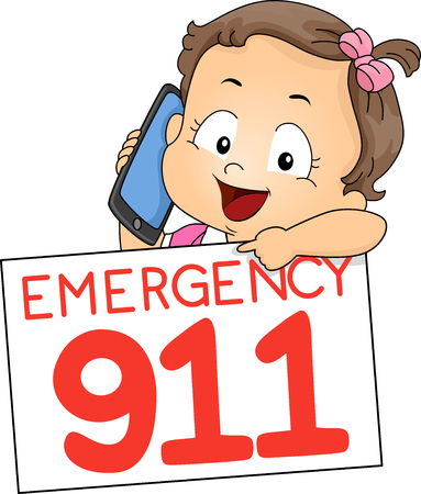 Illustration of a Kid Girl Toddler Using Mobile Phone Pointing to a Board with Emergency 911 스톡 콘텐츠 - 121218242
