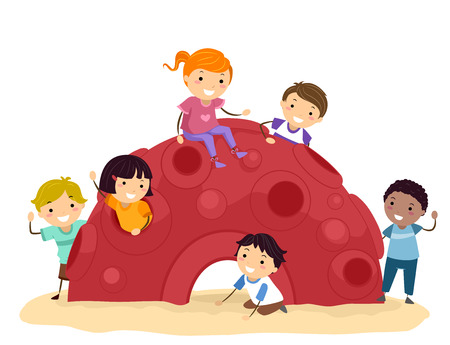 Illustration of Stickman Kids Playing in a Cozy Red Dome in the Playground 스톡 콘텐츠 - 121218244