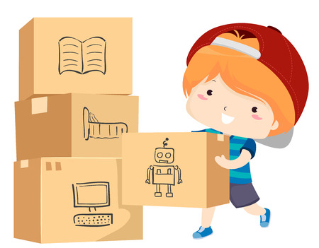 Illustration of a Kid Boy Moving Boxes Full of His Things with Labels like Books, Bedroom, Toys and Computer for Moving 스톡 콘텐츠 - 121218246