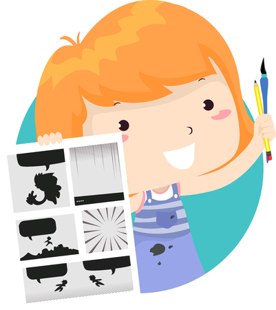 Illustration of a Kid Girl Showing Comics or Manga Illustration and Holding Pencil and Pen 스톡 콘텐츠 - 121218251