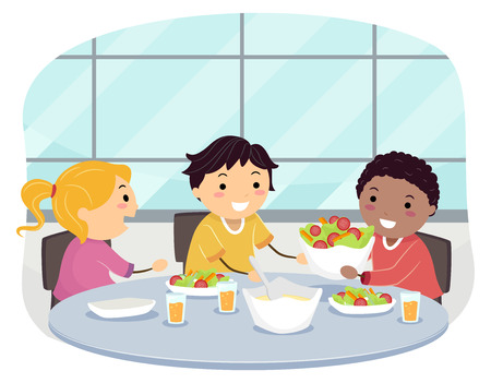 Illustration of Stickman Kids Eating Lunch Asking to Pass a Serving of Food Politely 스톡 콘텐츠 - 121218253
