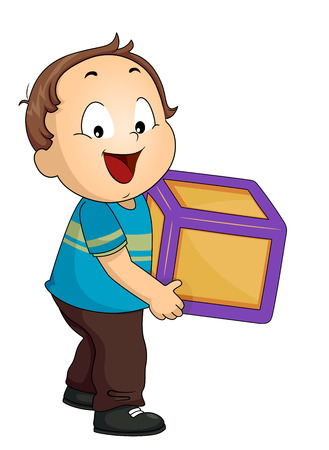Illustration of a Kid Boy Toddler Carrying a Toy Block