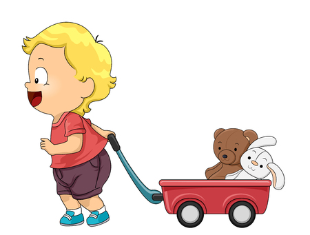 Illustration of a Kid Boy Toddler Pulling a Red Wagon with Bear and Rabbit Stuffed Toy 스톡 콘텐츠