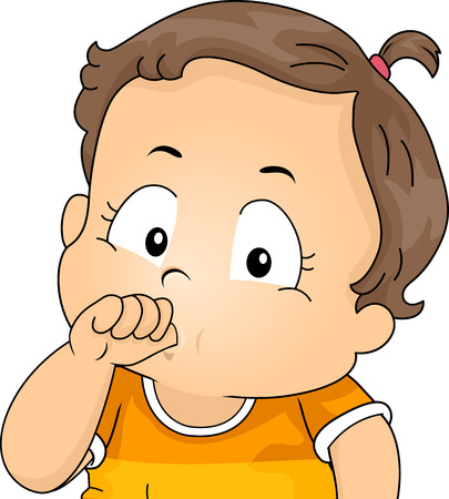 Illustration of a Kid Girl Toddler Sucking Her Thumbs