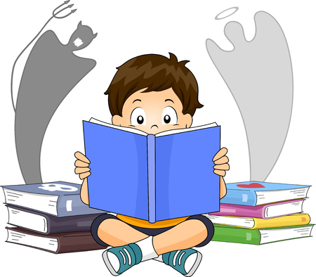 Illustration of a Kid Boy Reading a Book About the Good and the Bad 스톡 콘텐츠 - 121218259