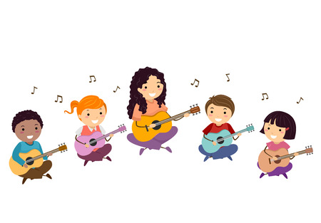 Illustration of Stickman Kids with Teacher Playing the Guitar with Musical Notes Floating Around 스톡 콘텐츠 - 121218312