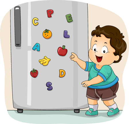Illustration of a Kid Boy Toddler Showing His Toy Refrigerator Magnets with Fruits and Letters 스톡 콘텐츠 - 120908058
