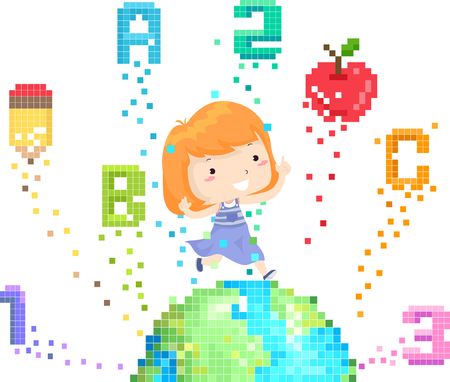 Illustration of a Kid Girl Jumping On Top of a Pixel Art Earth with School Elements from ABC, 123, Pencil to Apple
