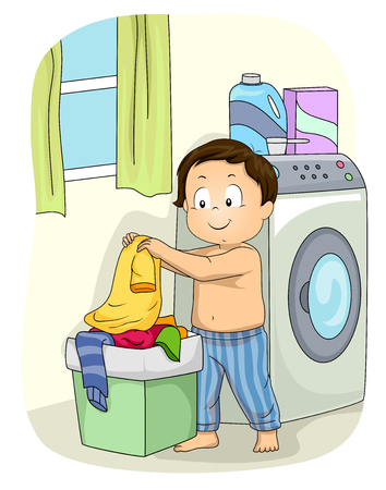 Ilustración de un niño poniendo su camisa dentro de una canasta de lavandería cerca de una lavadora Foto de archivo