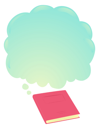 Illustration of a Closed Book with Blank Thinking Cloud