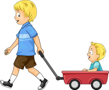 Ilustración de niños varones con hermano mayor tirando de carro de juguete rojo con su hermano menor Foto de archivo