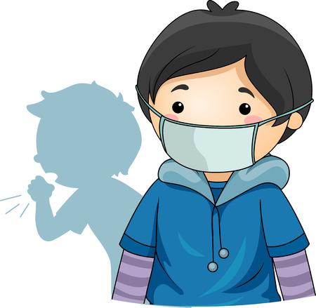 Ilustración de un niño con máscara protectora que lo protege del virus de personas enfermas y con tos