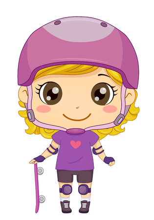 Illustration of a Kid Girl Wearing Helmet, Shoulder and Knee Pad and Holding Skateboard 스톡 콘텐츠 - 120908067