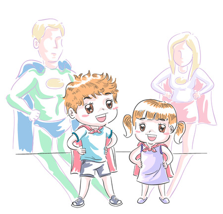 Illustration of Kids Wearing Capes Playing their Favorite  Superhero Stock Photo