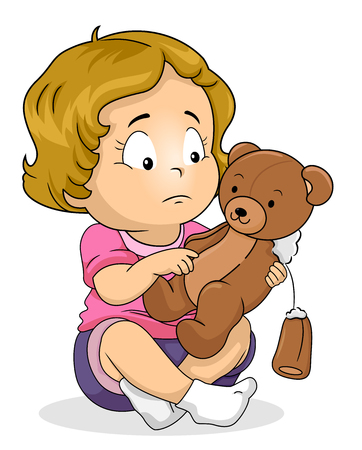 Illustration of a Kid Girl Toddler Holding Her Broken Teddy Bear Stuffed Toy 스톡 콘텐츠 - 120908070