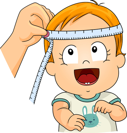 Illustration of a Kid Boy Toddler with Tape Measure Being Measured to Get His Head Circumference 스톡 콘텐츠 - 120908073