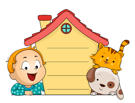 Illustration of a Kid Boy Toddler Showing a House Board with His Pet Cat and Dog. House Pet Rules.