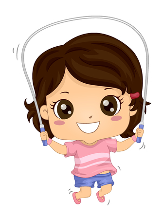 Illustration of a Kid Girl Exercising and Using Jumping Rope
