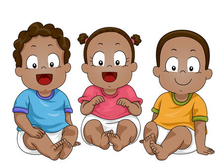 Illustration of Young African American Babies Wearing Shirt and Diapers 스톡 콘텐츠 - 120908086