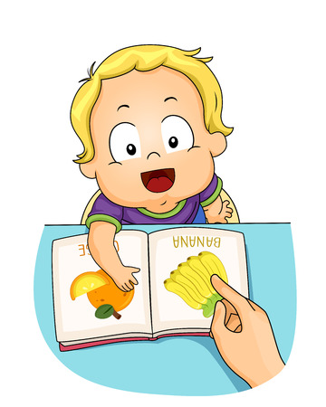 Illustration of a Kid Boy Toddler Learning About Different Things from the Book. Speech Training Banana Orange
