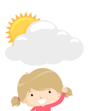 Illustration of a Kid Girl Pointing to a Blank Cloud Board with Sun Peeking. Weather Forecast 스톡 콘텐츠