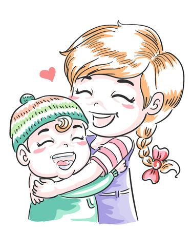 Illustration of Older Sister Hugging Younger Sibling