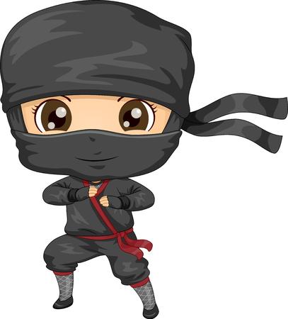 Illustration of a Kid Boy Wearing a Black Ninja Costume in Fighting Pose