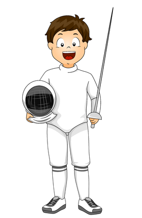 Illustration of a Kid Boy Wearing Fencing Outfit with Sword and Helmet 스톡 콘텐츠 - 120908092