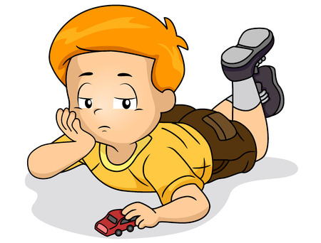 Illustration of a Bored Kid Boy Playing with Toy Car