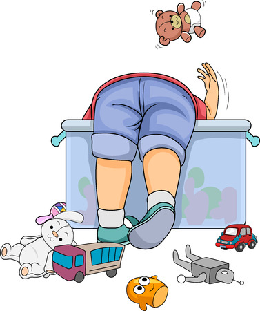 Illustration of a Kid Boy Toddler Searching for His Toy from the Container 스톡 콘텐츠 - 120908095