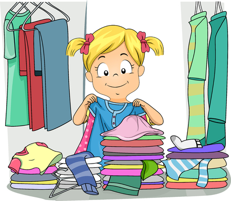 Illustration of a Kid Girl Organizing Clothes in Her Cabinet