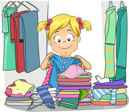 Ilustración de una niña organizando la ropa en su gabinete