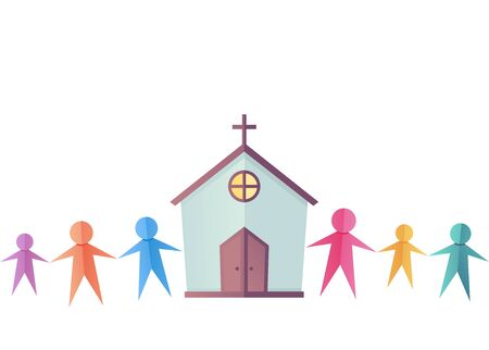 People Paper Cut Outs with a Church. Religious Community 스톡 콘텐츠
