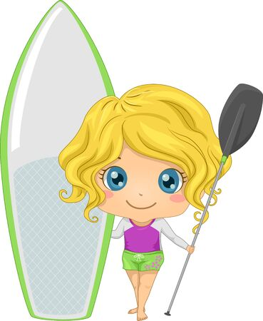 Kid Girl Holding Paddle and a Board for Paddle boarding