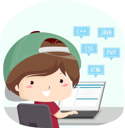 Kid Boy with Laptop and Different Programming Languages