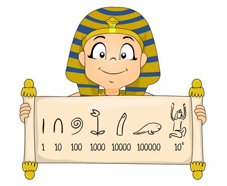 A Kid Boy Wearing Egyptian Pharaoh Costume Showing a Scroll with Egyptian Number System Banque d'images - 129828679