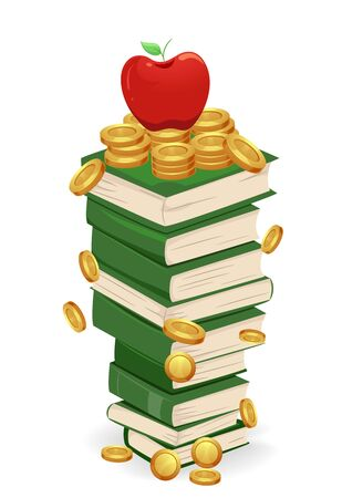 A Stack of Books with an Apple and Gold Coins on Top.