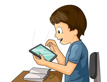 A Kid Boy with a Book Open and Using Tablet in Class Stock fotó