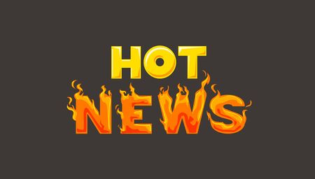 Hot News Lettering in Yellow and Orange Color with Fire 写真素材